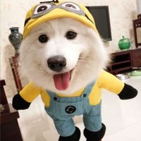 costume de mineur jaune achat en gros de-Dépêchez-moi Pet Costume Dog Funny Minion Yellow Halloween Gru Outfit Clothing