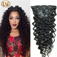 Wholesale brazilian human hair clip ins for sale - Group buy Clip in Human Hair Extensions Deep Curly Brazilian Human Hair Extensions Clips Ins set Set for Whole Head Clip in hair