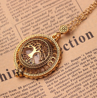 Wholesale Vintage Antique Tree Pendant - Hollow Magnifying Glass Necklace Vintage Antique Gold Tree Of Life Pendant Necklaces For Women Link Chain