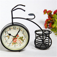 Wholesale Iron Glass Black Retro Vintage Classic Old Bicycle Clock Table Clock Gift Home Decor For Creative x90x205mm