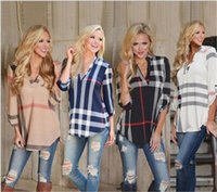Wholesale Ladies Three Quarter Sleeve Blouses - Plus Size 5XL Womens Blouse Autumn 3 4 Sleeve V-Neck Blue White Casual Plaid Shirts Ladies Elegant Irregular Blusas
