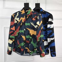 Wholesale Flannels Clothing - New Men's Shirts Arrival British Style Casual Long Sleeve Solid Male Slim Fit Shirt Graffiti camouflage print Men Clothes