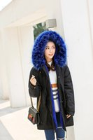 Wholesale Large Girls Winter Coats - Large Size Women Girls Winter Parkas Faux Fur Coat Winter Jacket Hooded Red Blue Fur Warm Outwear Cashmere Overcoat Fashion Tops