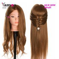 cabeza de muñeca de entrenamiento al por mayor-40% pelucas de cabeza real del entrenamiento del cabello humano para peluqueros Maniquí muñecas color rubio cabeza de peluquería profesional se puede encrespar