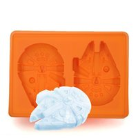 Wholesale Silicone Bake Forms - Vintage 3D Death Star Wars Millenium Falcon Silicone Ice Cube Tray Ice Chocolate Mold Silicone Form for Baking wa2830
