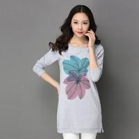 Wholesale Korean Spring Tunics - Long Sleeve 2017 Spring t Shirt Women Plus Size Top Crop Femme Mujer Long Tunic Tops For Women Oversized Korean Style 60H0256