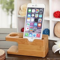Wholesale Apple Iphone 4s Docking Station - 100% Natural Bamboo Charging Dock Station Bracket Cradle Stand Phone Holder For APPLE iPhone 6S PLUS 6 5S 5C 5 4S 4 For i watch