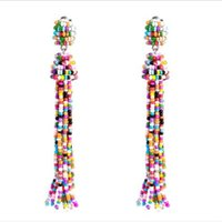 Wholesale 14k solid gold beads - Weave Beads Tassels Earrings Ethnic Style Stylish Solid Color Beads Bohemian Chandelier Women Trendy Exaggerated Earrings