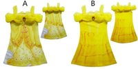 Wholesale Beauty Clothing - 2017 Girls Dresses 2Designs Beauty and Beast Belle Princess Dresses 3D Printing Belle Cosplay Costume Princess Slips Childrens Clothing