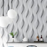 современные серые обои оптовых-Современные 3D Кривые Обои Серый 3D Обои Полосатый Фон Гостиная Виниловые ПВХ Обои Рулон бумаги papel de parede listrado