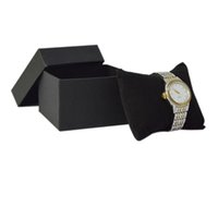 papier bijoux oreiller boîte achat en gros de-5 Pcs Bijoux Emballage Cas Noir Papier avec Velours Noir Coussin Oreiller Montre De Stockage Bracelet Organisateur Cadeau Boîte Bracelet Boîte De Rangement De Chaîne