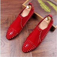 Wholesale Mens Suede Oxfords - 2017 Promotion New spring brand Fashion tassel Mens Punk Studded red black Rivet Spike Suede Pointy Loafers Casual Dress Shoes AXX448
