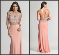 A-Line spark art - Fashion Prom Dresses Satin Sequin Beading Crystals Sparked Bling Party Gown Sleeveless Backless Sexy V Neck Halter Two Pieces Prom Dresses