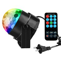 Wholesale Led Auto Lights - 7 Colors 3W Led Crystal Magic Ball Lights Sound Activated DJ Stage Lights with Remote for Disco Party Xmas Wedding KTV Bar Club Pub