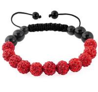 Wholesale Disco Drill Bracelets - Free distribution, 11 beads 10mm shop shamballa soft pot drill ball braided disco crystal beads red bracelet.
