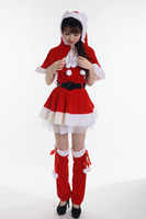 Wholesale Lady Sexy Santa - New Mascot Women Christmas Dress Sexy Ladies Clothing set Merry Christmas Sale Plush Hooded Santa Claus Women Clothing Set