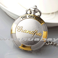 """Wholesale Best Grandpa - Wholesale-Luxury """"THE GREATEST"""" Grandpa Father's Gold Silver Quartz Pocket Watch Pendant Fob Chain Roman Numberals Mens Best Gift Necklace"""