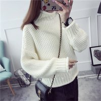 Wholesale Angora Women - Wholesale- Angora Wool 2016 Winter Women Turtleneck Sweaters Knitted Pullovers Pull Femme Oversized Sweater Pullovers Thick Knitwear S264