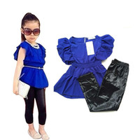 Wholesale Leisure Suit Models - Wholesale- NEW Free Shipping Baby Girls Clothing Sets Summer female models sweet shirt + leggings leisure suit Kids Clothes Sets