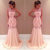 Wholesale Empire Waist Mermaid - 2017 One Shoulder Pearl Pink Prom Dresses Lace Appliques Sheer Neck Party Dress Empire Waist Mermaid Long Formal Evening Gowns BO7801