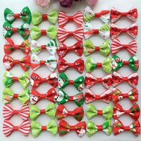 Chien Incline Barette Pas Cher-100PCS / lot Pet Dog Xmas Hair Bows Clips Accessoires Hairpins Grooming Supplies Bowknot lot Handmade chat chiot ornements de cheveux barrette PD002
