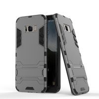 Wholesale white hard stand case cover online - For iphone Hybrid Hard PC Soft TPU in Iron Man Case Heavy Duty Rugged Holder Stand Cover for Samsung S8 Plus S7 iphone s