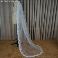 Wholesale Soft Lace Long Veils - Wedding Veil 2 Meter Long Soft Tulle Lace One Layer Hair Accessory Cover 2017 New Style Real Photo