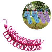 Wholesale rope clothesline - 185CM Outdoor Wild Travel Portable Windproof Elastic Clothesline Clips Hanger Drying Rack Clothes Hanging Rope Line