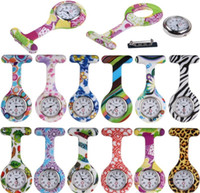 Wholesale Colorful Prints nurse watches Silicone Pocket watch Doctor Fob Quarta Watches Medical Cute Patterns Nurse Watch Friends Gift Pin Watches