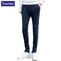 Wholesale Stripe Sweat - Wholesale-2016 Spring Autumn Men Sweatpants Side Stripe Pants Men 3 Color Casual Pantalones Hombre Mid Waist Sweat Pants Cool Trousers Men