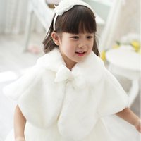 Wholesale Solid Woven Cotton Belt - 2016 New Arrival White Christmas Girls Capes Sleeveless Winter Flower Girls Wedding Cloaks Cotton Trim Hooded Children Wraps
