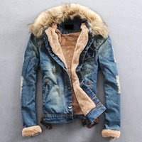 Wholesale Denim Jacket Men Thick Fur - Wholesale- Free Shipping 2017 Top Sale Brand Men Denim Jacket Male Winter Fur Collar Jeans Man Coat Wool Thick Outwear Cotton Hooded lxy295