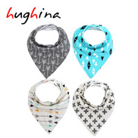 Wholesale Hughina ins burp baby bibs saliva towel Arrow animal cartoon cloths triangle cotton bandana accessories Bibs Burp Cloths