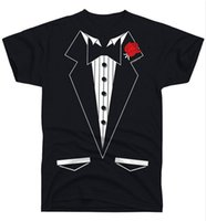 Wholesale Men S Tux - Loose Black Men Tshirts Homme Tees man t shirt Ragz Men's Black Formal Tuxedo Tie Tux T Shirt