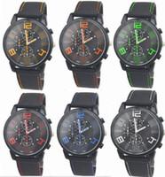 Wholesale Watch Men Aviator - Wholesale 50pcs lot Mix 6Colors Men Causal SPORT Military Pilot Aviator Army Silicone GT Watch RW017