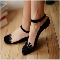 Wholesale Transparent Ankle Socks For Women - New Top Quality Women Socks Girl Sweet Lace Ultrathin Crystal Sock Short Transparent Socks Thin Ankle Sock For Ladies