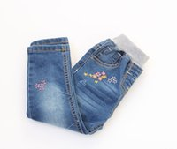 Wholesale 2t Girls Jeans - New Arrival Baby Girls Spring Denim Jeans Girls Flower-embroidery Jeans Child Cotton Casual Jeans Kids Spring Autumn Long Pants