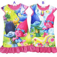 Wholesale poppy dress - Girls Trolls Poppy Branch princess dress 2017 New Children trolls cartoon short sleeves Pajamas dresses Kids clothes B001