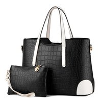 Wholesale Handbag 2pcs - 2pcs set composite bag Women Lash Package PU Leather Bags Crocodile Pattern Handbag Shoulder Crossbody Bag Clutch Bag Free Shipping