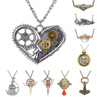 Grossiste-Mode Punk Vintage Gears Feather Hibou Angel Wing Pattern Steampunk Collier Pendentif Long Collier Bijoux Femmes