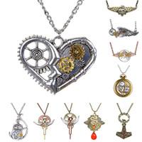 Wholesale Steampunk Owl Pendant - Wholesale-Fashion Punk Vintage Gears Feather Owl Angel Wing Pattern Steampunk Necklace & Pendant Long Necklace Jewelry Women