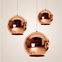 Wholesale Mirror Balls Light Fixture - Mirror Ball Pendant Lamp copper lamp Lamp Glass Globe Pendant Light Hanging Light Fixture lustre luminaire lamparas Lighting
