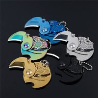 Wholesale Wholesale Keychain Knives - Coins Folding Knife Fixed Blade Key Chain Letter Opener Outdoor Survival Camp Tactical Hunting Pocket Knives EDC Tool Neck Keychain Knife