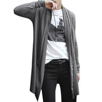 Wholesale Men S Open - Wholesale-2016 NEW mens hoodies and sweatshirts sudaderas hombre hoodie Long Cardigan Shawl Collar Front Opening Side