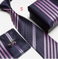 Wholesale neck tie set necktie cufflinks men s ties polyester ascot hankies striped tower Pocket square Sets