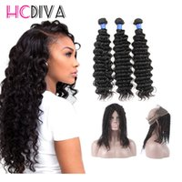 Wholesale Thick Brazilian Hair Bundles - 7A Brazilian Virgin Hair Bundles Deep Wave Hair 360 Lace Frontal with 3 Bundles 100% Unprocessed Virgin Human Hair Extensions Dyeable Thick