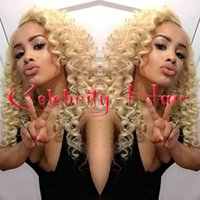 blonde afro wigs - Top Blonde Afro Kinky Curly Synthetic Lace Front Wig Cheap curly hair lace front wigs b