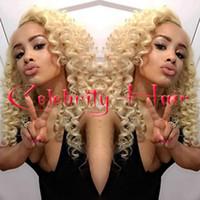 33 613 cabello al por mayor-Top Blonde afro rizado rizado peluca sintética del frente del cordón pelucas delanteras rizadas del cordón del pelo rizado 1b # 1 # 2 # 4 # 6 # 30 # 27 # 33 # 613 # envío gratis