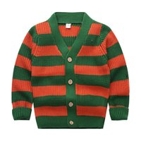 Wholesale Sweater Boys Stripes - Children sweater 2017 spring and autumn new boy striped cardigan baby sweater coat in the cross stripes