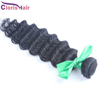 Wholesale Hair Extensions Top Rated - Top-rated Raw Indian Deep Wave Curly Hair Weave Unprocessed Deep Curl Remi Human Hair Extensions Cheap 1 Bundle Indian Weft 1b#